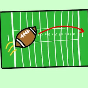 Cartoon football sailing across a football field