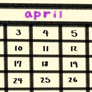 A closeup of a page from a calendar shows the month of April