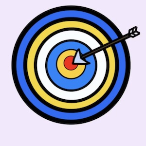 A blue, white, yellow, and red archery target has a arrow that hit a bullseye