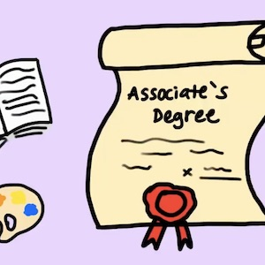 A degree certificate surrounded by several different symbols representing subject areas