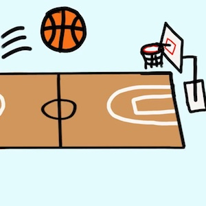 Cartoon basketball being thrown into a hoop from near midcourt