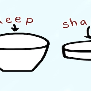 A deep and a shallow bowl sit next to each other