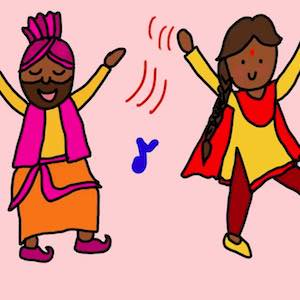 Two people in pink, yellow, red, and orange clothing enjoy dancing together