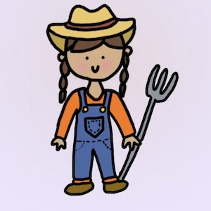 A drawing shows someone in a hat and overalls holding a pitchfork