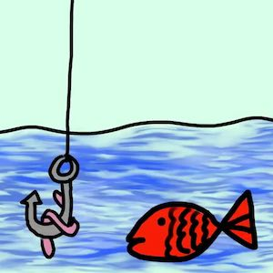 A worm on a hook is used to attract a red fish