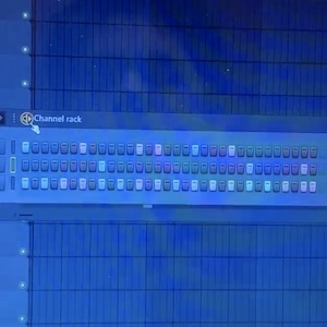 A computer shows a colorful visual representation of a beat for a song