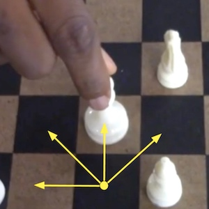 Arrows demonstrate the different ways a chess piece can move across the board