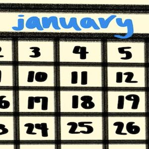 A closeup of a page from a calendar shows the month of January