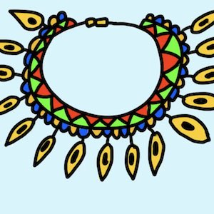 A big and brightly colored necklace