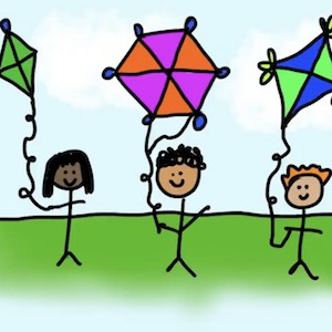 People stand with different colored kites in the air above them