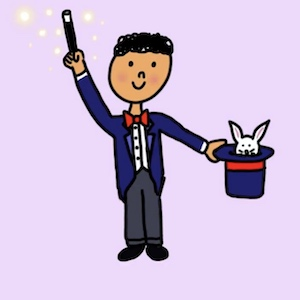A magician holds a wand up as a rabbit peaks out of a hat in his hand