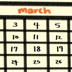 A closeup of a page from a calendar shows the month of March