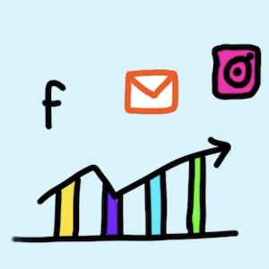 A drawn bar graph shows colored bars with social media icons above it