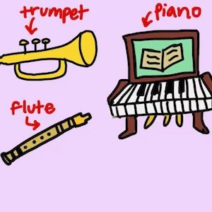 Several different instruments you could play, including trumpet, piano, and flute