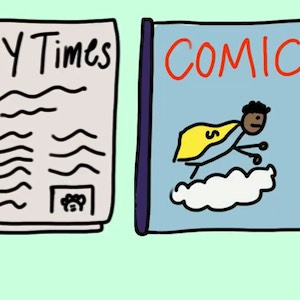 Cartoon of NY Times and a comic book