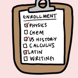 A clipboard holds a checklist with classes to enroll in