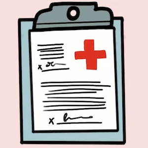 A drawing shows medical papers on a clipboard, a large red medical cross visible in the right corner