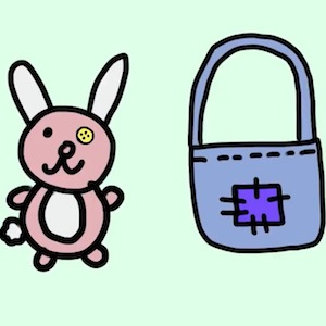 A cartoon drawing shows that you can sew a new eye on a rabbit doll or you can sew a patch onto a purse.