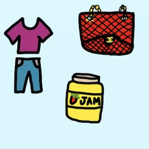 A pair of pants and shirt, along with a purse and a jar of jam, show different things you can go shopping for
