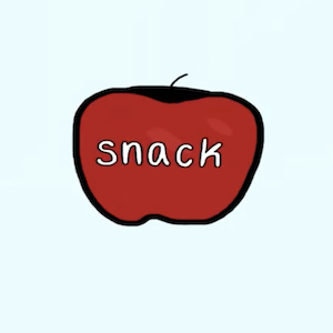 An apple can be a snack, something eaten between larger meals