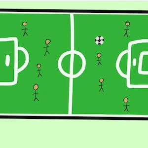 A cartoon drawing shows a green soccer field from overhead with 4 players on each side a soccer ball near the middle.