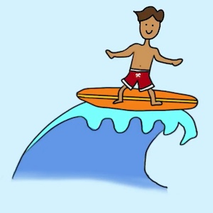 Cartoon boy on a surfboard at the top of a wave.