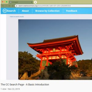 Finding an image of a Kyoto temple by searching through Creative Commons images