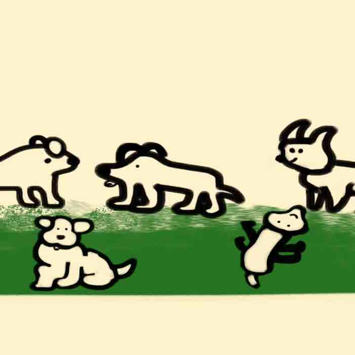 A drawing of five dogs in a park