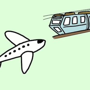 An airplane and a suspended monorail are some ways to travel