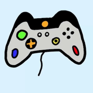 Cartoon video game controller