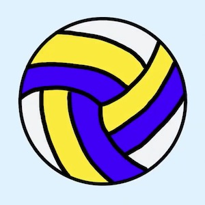 Cartoon white, blue, and yellow striped volleyball
