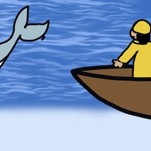 A person standing in a rowboat wearing a yellow raincoat sees the tail of a whale splash above the water