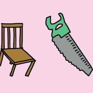 A wooden chair and a saw