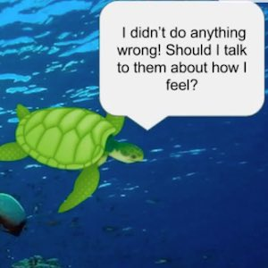 The story of turtles being mean to another turtle helps convey the impact words have